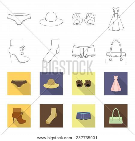 Women Boots, Socks, Shorts, Ladies Bag. Clothing Set Collection Icons In Outline, Flet Style Vector