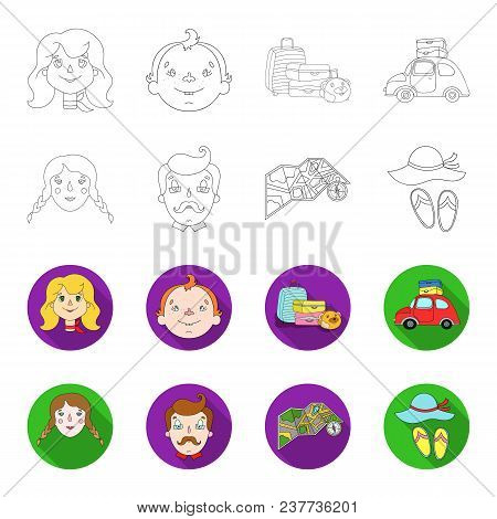 Travel, Vacation, Camping, Map .family Holiday Set Collection Icons In Outline, Flet Style Vector Sy