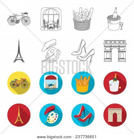 Eiffel Tower, Brush, Hat .france Country Set Collection Icons In Outline, Flet Style Vector Symbol S