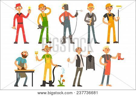 People Of Different Professions And Occupations In Working Outfit. Electrician, Builder, Welder, Arc