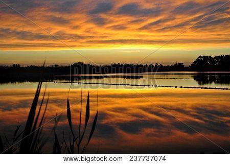 Yellow-gray Sunset En The Mediterranean Coast, Valencia, Spain,