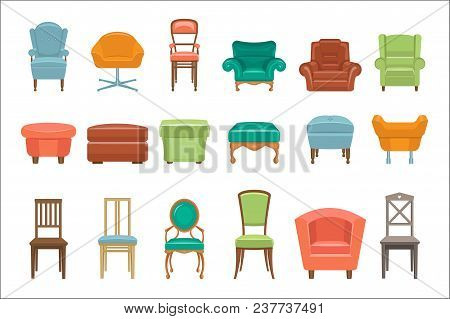 Collection Of Different Types Seating. Armchairs, Chairs, Poufs. Comfortable Furniture. Elements For