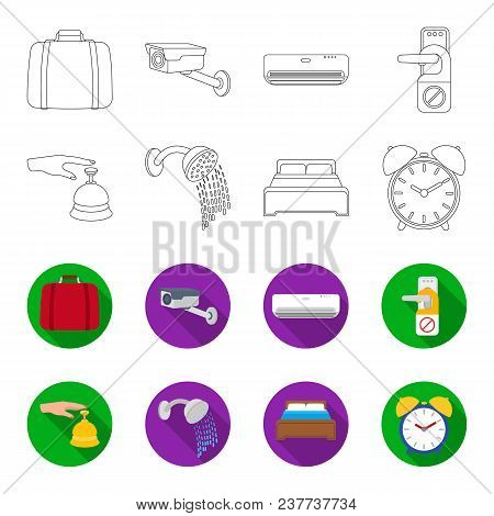 Call At The Reception, Alarm Clock, Bed, Shower.hotel Set Collection Icons In Outline, Flet Style Ve