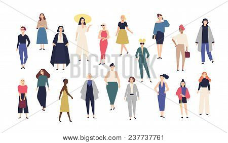 Women's World. Crowd Of Girls Dressed In Trendy Casual And Formal Clothes. Collection Of Female Cart