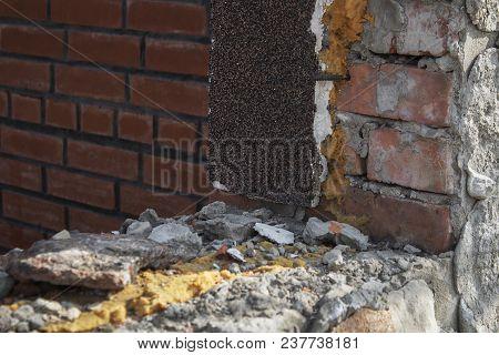 Abandoned building. Grunge building.  Architectural background. Grunge background. Grunge style. Grunge architecture. Grunge abandoned building. Firebrick. Brickwork. Grunge wall. Grunge brick. Grunge style.