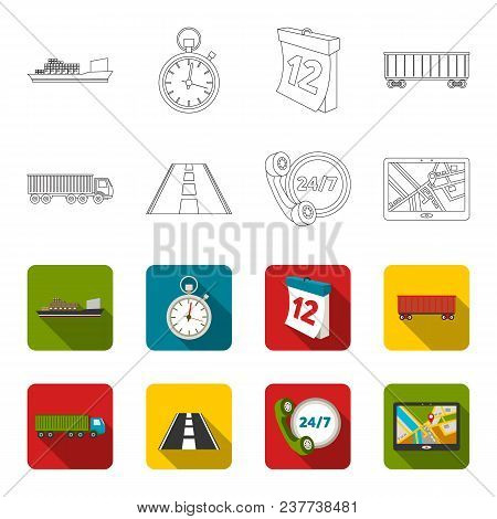 Round The Clock, Road, Truck, Jps.loqistic, Set Collection Icons In Outline, Flet Style Vector Symbo