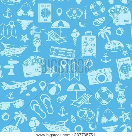 Vacation And Tourism Seamless Pattern With Flat Icon Set For Mobile Applications, Web Site, Advertis