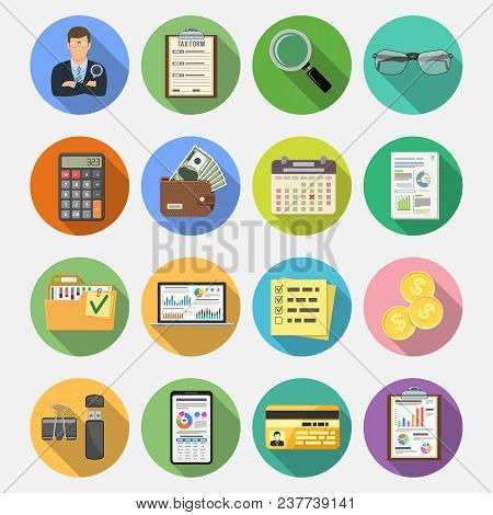 Auditing, Tax, Business Accounting Flat Icons Set On Colored Circles With Long Shadows. Auditor Hold