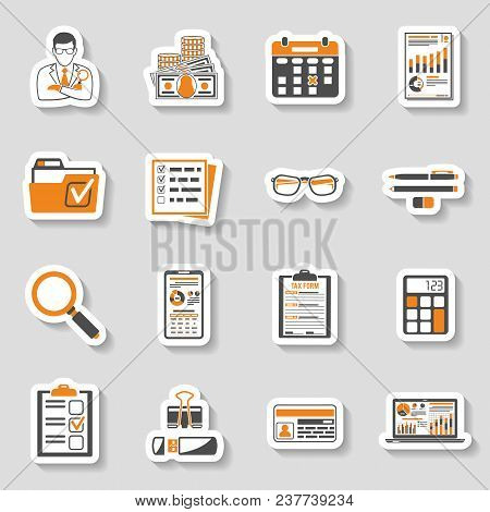 Set Auditing, Tax Process Calculation, Business Accounting Sticker Icons In Flat Style. Calculator,