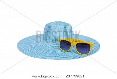 Sunglasses On A Sea Hat. Isolated On White Background.