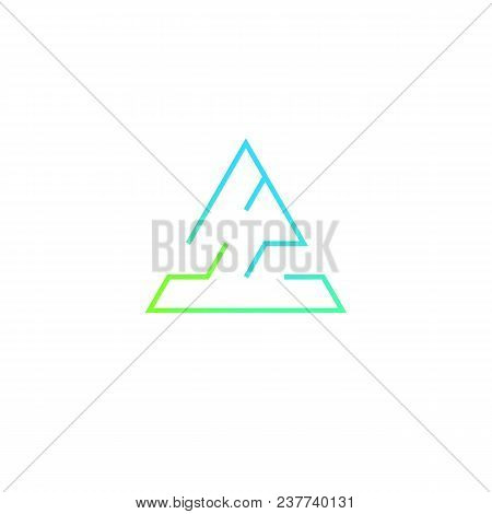 Triangular Maze Logo Design In Acid Colors