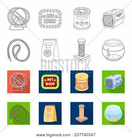 Leash, Feed And Other Zoo Store Products.pet Shop Set Collection Icons In Outline, Flat Style Vector
