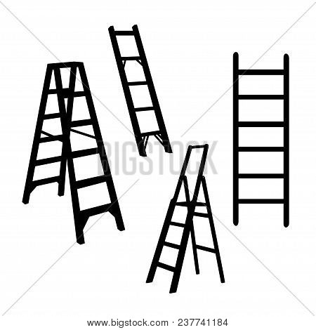 Ladder Silhouette  Illustration Isolated Sign Symbol. Ladder Vector Logo. Ladder Flat Design Style.