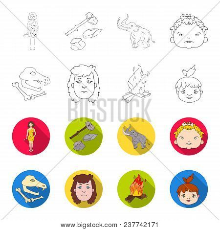 Woman, Hair, Face, Bonfire .stone Age Set Collection Icons In Outline, Flet Style Vector Symbol Stoc