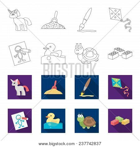 Children Toy Outline, Flet Icons In Set Collection For Design. Game And Bauble Vector Symbol Stock I