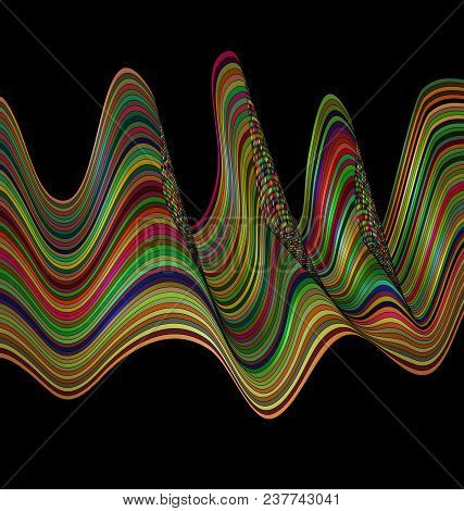 Abstract Colored Background Image Consisting Of Lines And Waves