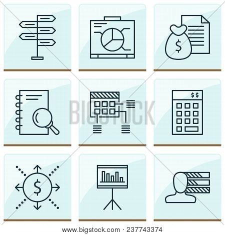 Management Icons Set With Cash Flow, Statistics And Management, Personality Analysis Elements. Isola