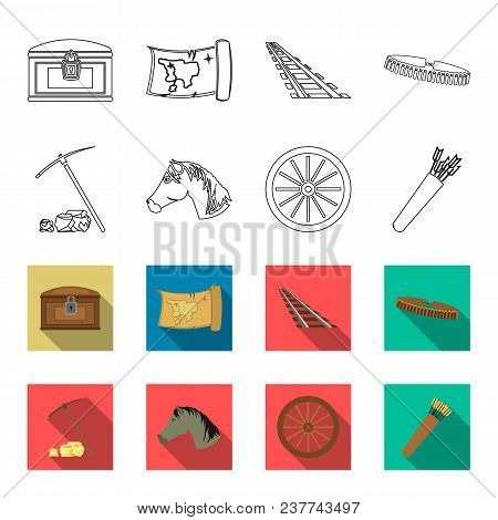 Pickax Hoe, Horse Head, Wheel Cart, Quiver With Arrows.wild West Set Collection Icons In Outline, Fl