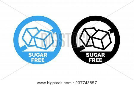 Sugar Free Label. Vector Sugar Cubes In Circle Icon For No Sugar Added Product Package Design