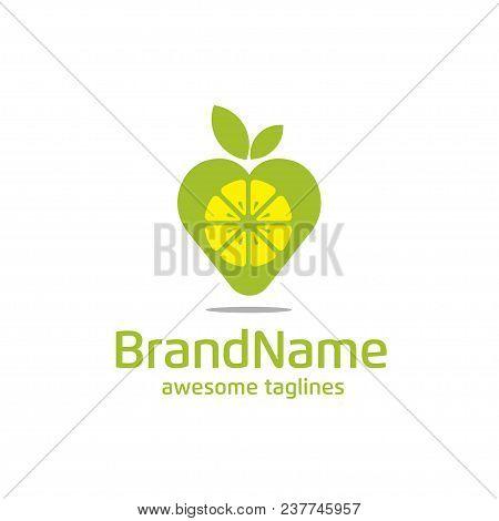 Lemon Pin Logo Concept, Lemon Place And Leaf Logo, Lemon Finding Place Logo, Fresh Pin Logo,fruit Pl