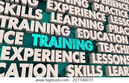 Training Education Skills Lessons Word Collage 3d Illustration