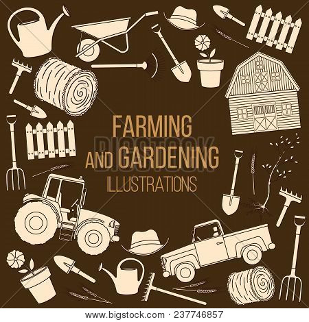 Set Of Farming Equipment Liine Icons. Farming Tools And Agricultural Machines Decoration. Vector