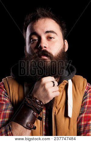 Cool Bearded Man On Black Background In Studio