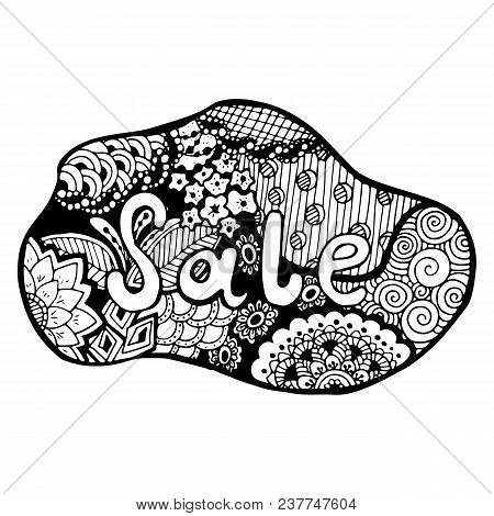 Detailed Hand Drawn Doodle Logo. Hand Drawn Logo In Doodle Style With Inscription Sale On It. Floral