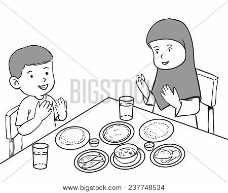 Muslim Kids Having Meals Praying And Worshiping