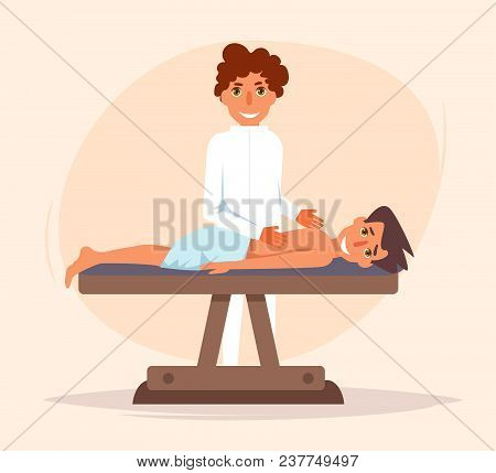 Therapeutic massage. Chiropractor Vector. Cartoon. Isolated art on white background. Flat poster