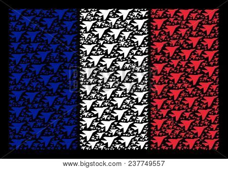 France State Flag Composition Combined Of Airplane Intercepter Elements. Vector Airplane Intercepter