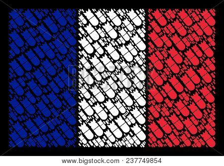 French Flag Mosaic Done Of Aviation Bomb Elements. Vector Aviation Bomb Pictograms Are Combined Into