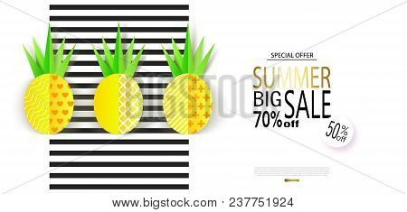 Summer Big Sale Banner With Sweet Paper Pineapples On Striped Background. Vector Illustration.