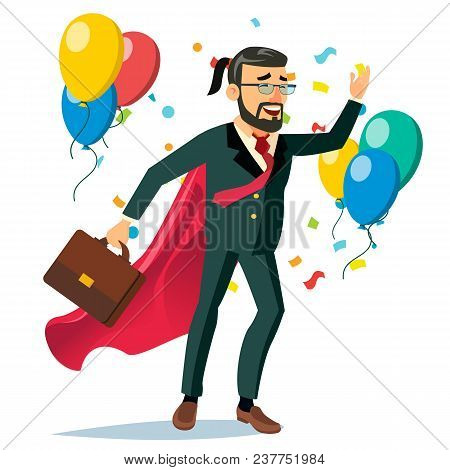 Successful Businessman Hero Vector. Business Achievement. First Office Worker. Market Competition Ra