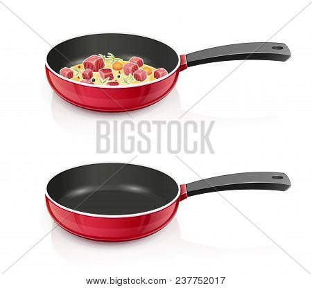 Red Pan With Lid. Kitchen Tableware. Cooking Food. Prepare Meal. Kitchenware Tool. Utensil Equipment