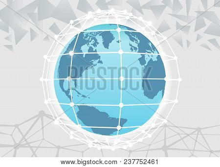Global Network Connection. World Map Point Line Composition Representing The Global. Vector Illustra