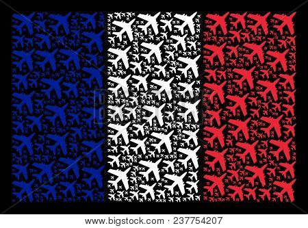 France Flag Mosaic Designed Of Jet Plane Pictograms. Vector Jet Plane Objects Are Organized Into Con