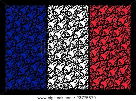 French State Flag Concept Combined Of Space Rocket Launch Pictograms. Vector Space Rocket Launch Pic