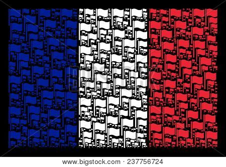 France National Flag Pattern Combined Of Waving Flag Pictograms. Vector Waving Flag Elements Are Com