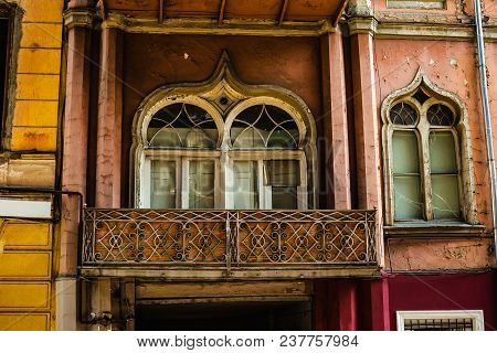 Tbilisi, Georgia - March 9, 2016: Facade Of Traditional House In Old Town  Tbilisi, Georgia.