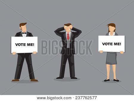 Voter's Dilemma Vector Cartoon Illustration