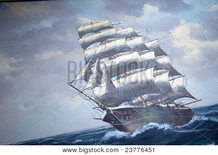 Vintage Oil Painting, Sail Ship