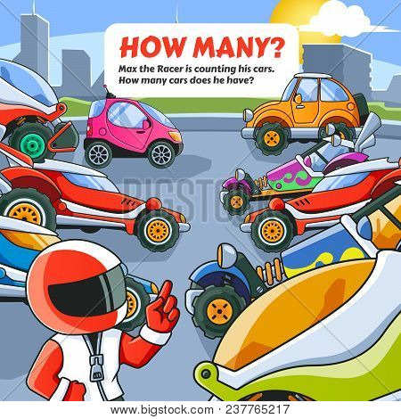 Counting Game. Max The Racer Is Counting His Cars. Vector Eps10