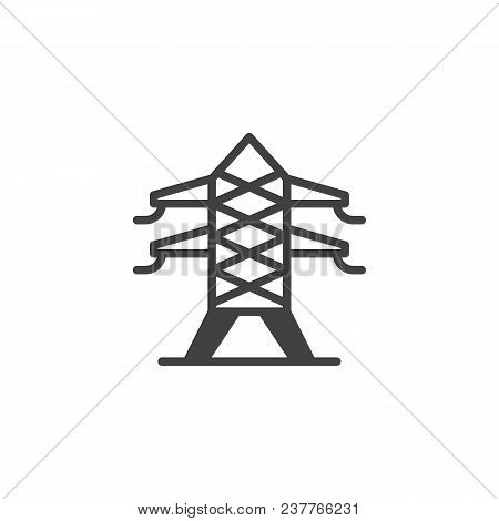 Electric Tower Vector Icon. Filled Flat Sign For Mobile Concept And Web Design. Electricity Transmis