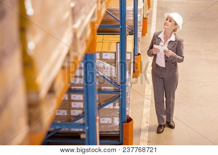 Global Sales. Professional Delivery Manager Looking At The Packages While Working In The Storehouse