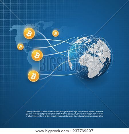 Bitcoin Trading Design Concept - Business And Global Financial Connections, Cryptocurrency, Online B