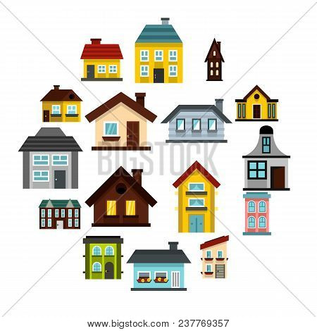 Flat House Icons Set. Universal House Icons To Use For Web And Mobile Ui, Set Of Basic House Element