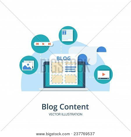 Blogging, Content Management, Smm Concept In Flat Design. Creating, Marketing And Sharing Of Digital