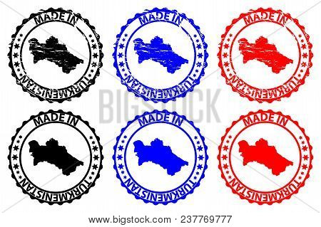 Made In Turkmenistan - Rubber Stamp - Vector, Turkmenistan Map Pattern - Black, Blue And Red