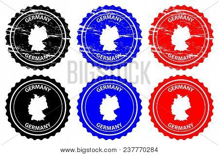 Germany - Rubber Stamp - Vector, Deutschland Map Pattern - Sticker - Black, Blue And Red